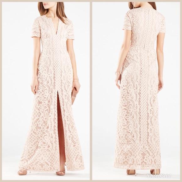 cd4ba0220c377 New BCBGMAXAZRIA Cailean Floral Lace Gown Cameo